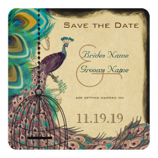 """Musical Peacock Bird Cage Eggplant Save the Date 5.25"""" Square Invitation Card"""