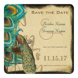 Musical Peacock Bird Cage Feather Save the Date Personalized Announcement