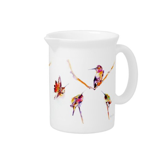 """Musical Perches"" Hummingbird Print Pitcher"