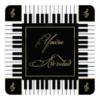 """MUSICAL (PIANO KEYBOARD) INVITATION 5.25"""" SQUARE INVITATION CARD"""