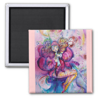 MUSICAL PINK CLOWN SQUARE MAGNET