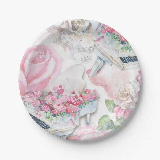 Musical Pink Roses Grand Piano Paper Plate