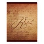 Musical Recital Antique Sheet Music Custom 11 Cm X 14 Cm Invitation Card
