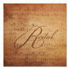 Musical Recital Antique Sheet Music Personalised Card