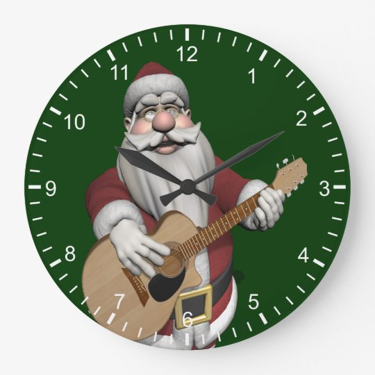 Musical Santa Claus Playing Christmas Songs Large Clock