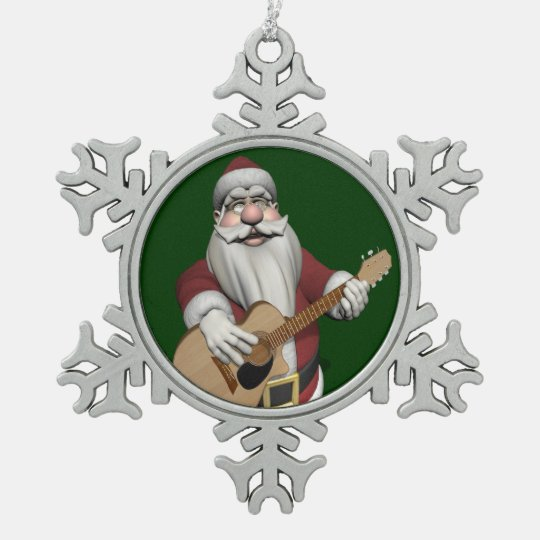 Musical Santa Claus Playing Christmas Songs Snowflake Pewter