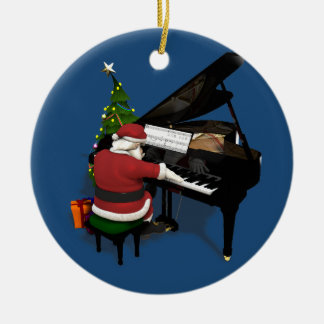 Musical Santa Claus Playing Piano Round Ceramic Decoration