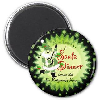 Musical Santa Elf Christmas Dinner Invitation Magn Magnet