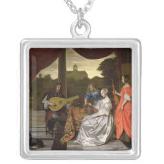 Musical Scene in Amsterdam Silver Plated Necklace
