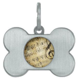 Musical Score Grunge Pet Name Tag
