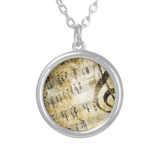 Musical Score Grunge Silver Plated Necklace