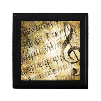 Musical Score Grunge Small Square Gift Box
