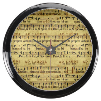 Musical Score Notation Old Paper Design Fish Tank Clocks