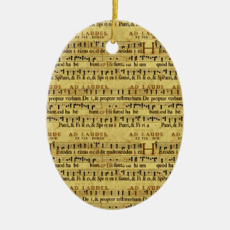 Musical Score Notation Old Paper Design Ceramic Oval Decoration