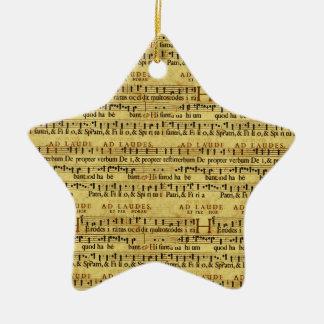 Musical Score Notation Old Paper Design Ceramic Star Decoration