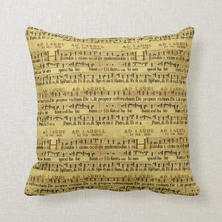 Musical Score Notation Old Paper Design Throw Pillows