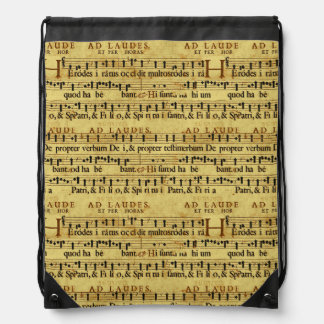 Musical Score Notation Old Paper Design Drawstring Bag