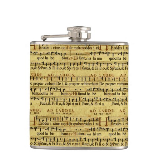 Musical Score Notation Old Paper Design Flask