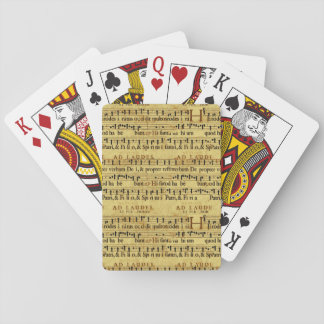 Musical Score Notation Old Paper Design Poker Cards