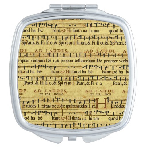 Musical Score Notation Old Paper Design Compact Mirrors