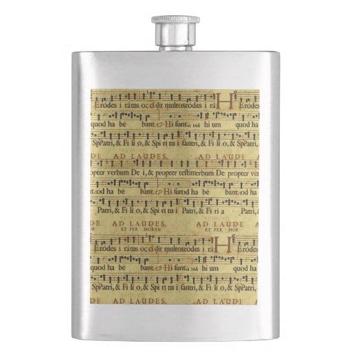 Musical Score Notation Old Paper Design Hip Flasks