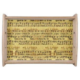 Musical Score Notation Old Paper Design Serving Platter