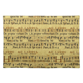Musical Score Notation Old Paper Design Placemat