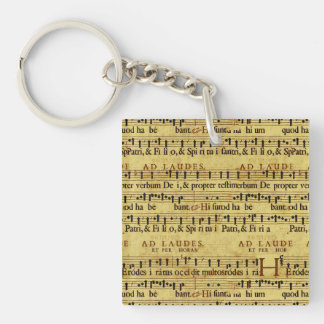 Musical Score Notation Old Paper Design Single-Sided Square Acrylic Key Ring