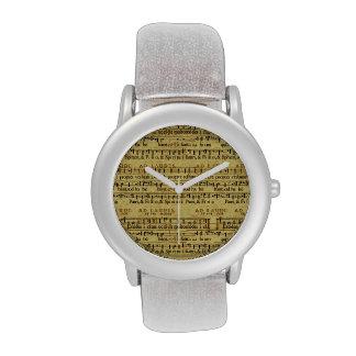 Musical Score Notation Old Paper Design Wrist Watch