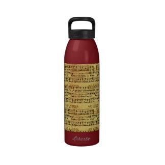 Musical Score Notation Old Paper Design Drinking Bottles