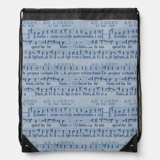 Musical Score Old Blue Paper Design Rucksacks