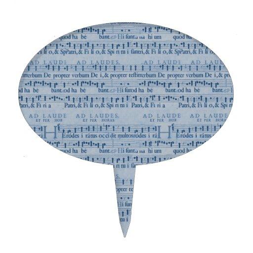 Musical Score Old Blue Paper Design Cake Topper