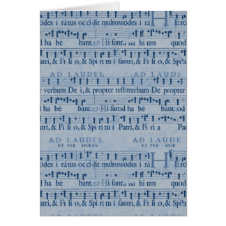Musical Score Old Blue Paper Design Greeting Card