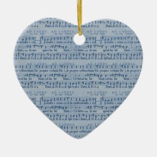 Musical Score Old Blue Paper Design Ceramic Heart Decoration
