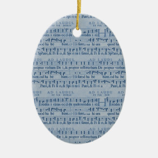 Musical Score Old Blue Paper Design Ornaments