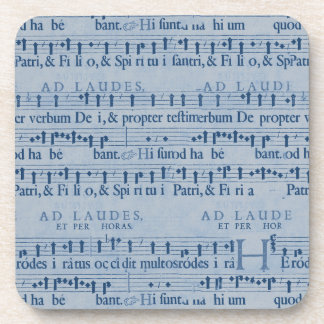 Musical Score Old Blue Paper Design Drink Coasters