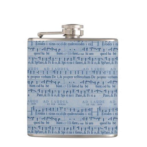 Musical Score Old Blue Paper Design Hip Flasks