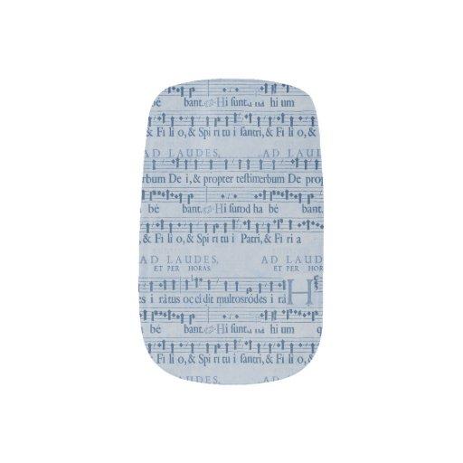 Musical Score Old Blue Paper Design Minx ® Nail Art