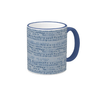 Musical Score Old Blue Paper Design Mugs