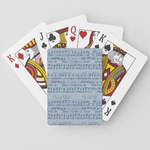 Musical Score Old Blue Paper Design Card Deck