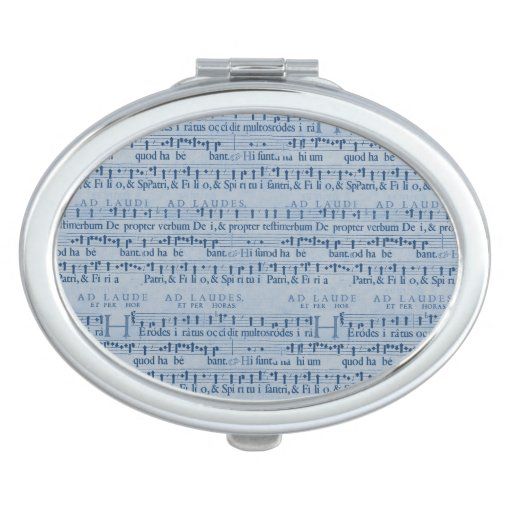Musical Score Old Blue Paper Design Vanity Mirror