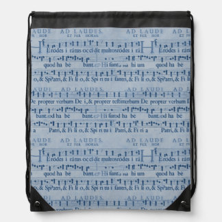 Musical Score Old Blue Paper Design Drawstring Bag