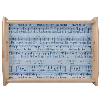 Musical Score Old Blue Paper Design Service Tray