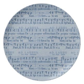 Musical Score Old Blue Paper Design Plates