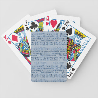 Musical Score Old Blue Paper Design Bicycle Poker Deck