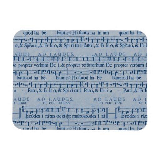 Musical Score Old Blue Paper Design Vinyl Magnets