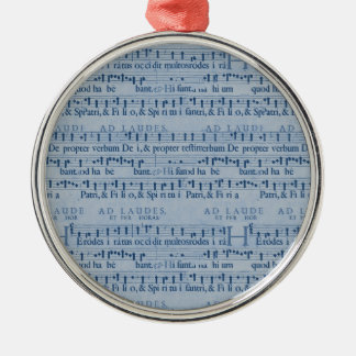 Musical Score Old Blue Paper Design Silver-Colored Round Decoration