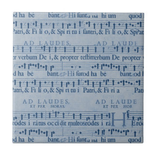 Musical Score Old Blue Paper Design Ceramic Tiles