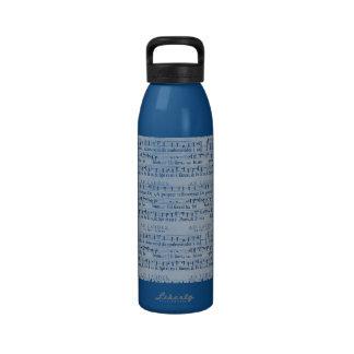 Musical Score Old Blue Paper Design Reusable Water Bottle