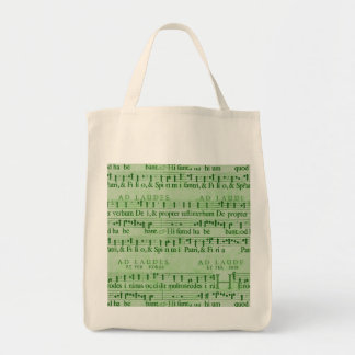 Musical Score Old Green Paper Design Canvas Bags